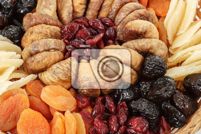 close up of various dried exotic fruits