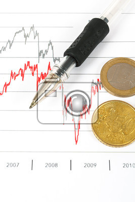 stock market graphs with black pen and euro coins