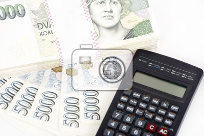 czech money banknotes coins and calculator money concept