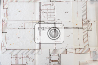 architectural plans on the old tracing paper