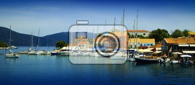 Summer and sea. The island, city, harbor, travel, ship and transport. Greece - Lefkada.