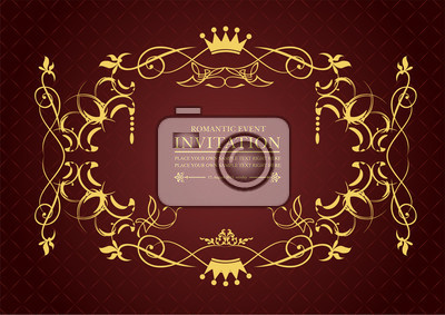 gold ornament on brown background can be used as invitation card vector illustration