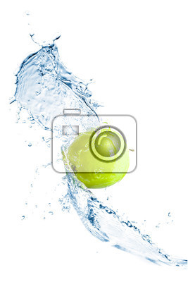 green apple with water splash isolated on white background