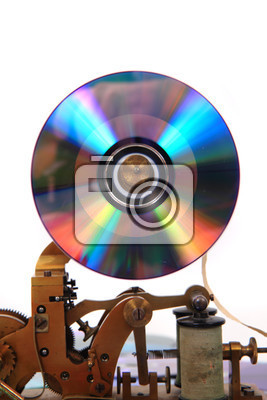 old telegraph with cd or dvdisolated on the white background